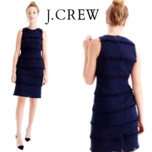 J Crew Fringed Navy Blue Sheath Dress 10 NWT